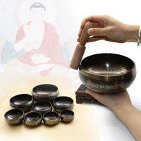 Wholesale Buddhist Singing Bowl - Himalayan Hand Hammered Chakra Meditation Bowl Religion Belif Yoga Tibetan Buddhist Brass Singing Bowl
