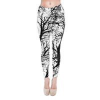 Mid black knit pants girls - Women Leggings Black White Tree D Graphic Print Girl Skinny Stretchy Yoga Wear Pants Lady Gym Fitness Pencil Fit Soft Trousers New J20768