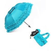 ingrosso ombrelli ombrelloni in pizzo nero-Donne Sun Ombrello Pioggia Anti-UV Nero Rivestimento Parasole Ombrellone Pieghevole Ombrello Bella Principessa Pizzo Ombrello Parasole ZA3543