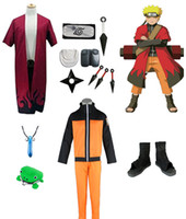 Wholesale naruto cosplay for sale - Naruto Cosplay Costume Immortal Mode Robe Shoes Headband Weapons Props Whole Set