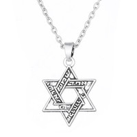 Wholesale Engraved Necklace Men - Freeshipping Jewish Jewelry Hebrew Engraved Star of David Necklace David Stars Necklace for Men and Women