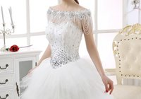 Wholesale Bi Plates - 2017 hit new high quality European and American popular wedding dress the bride epaulets, costly diamond shoulder shadow word lace shawls bi