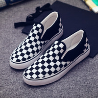 Wholesale Checkered Skate Shoes - 2017 Women&Men Canvas Shoes Fashion Skate Casual Shoes Female Checkered Slip on Basket Flats Tenis SIZE 35-43