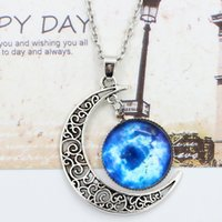 Chaînes À Pendentifs Demi-lune Pas Cher-Collier Chokers Collier Swarovski Starry Outer Space Gemstone Silver Chain Colliers Moon Collier Galaxy Half Crescen Glass Moon Collier