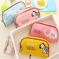 Atacado-High Grade PU Leather Pencil Case Candy Color cartoon Zoo Cute Pencil Pouch Trousse Stylo Presente Para Crianças Bolsas De Escola