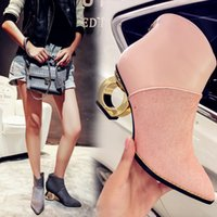 Wholesale Wedge Boots Online - Wholesale-2016 Women Horsehair Strange Heel Ankle Boots Pointed Toe Fashion Designer Ladies Boots High Quality Fashion Online Martin Boots