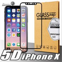 Wholesale White Glass Film - For iPhone X Protective Film Full Body Cover 5D Tempered Glass Screen Protector 9H Hardness Black White Color For Iphone 8 8Plus