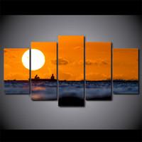 asiatische gemälde großhandel-5 Teile / satz Gerahmte HD Gedruckt Sonnenuntergang Sonne Meerblick Wand Foto Leinwand Druck Poster Asiatische Moderne Kunst Ölgemälde Bilder