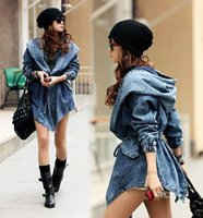 Wholesale Trench Coat Jeans Fashion - In Stock Pop Tide Autumn Winter Trench Coat For Women Denim Jean Trench Oversized Windbreaker Jeans Coat With Hood Abrigos Mujer 418