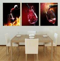 Wholesale Life Size Poster - 3pcs set Modern Wine Painting (No Frame) Canvas Posters Wall Decor Giclee Art picture for Living Room Home Office Decor(Size:5 sizes)