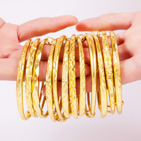 Wholesale african gold men bangle resale online - Ajustable Dubai Gold Bangles Women Men pc Gold Bracelets African European Ethiopia girls Jewelry bride Bangles gift