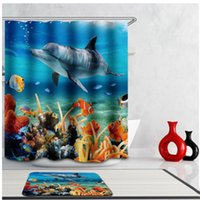 Vente en gros- Hot Sale 3D Blue Polyester Waterproof PVC Underwater World Tropical Fish Rideaux de douche Bath Screens Outils de salle de bain