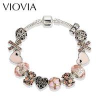 Wholesale Diy Jewellery Christmas Charms - VIOVIA Christmas Gifts Heart Charm Bracelets & Bangles Crystal&Glass Beads Bracelets For Women Pulsera DIY Jewellery B16174