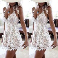 Wholesale White Lace Summer Dresses - Unique design woman slim party dress summer style 2017 new arrival white lace dress sleeveless mini length dress for women