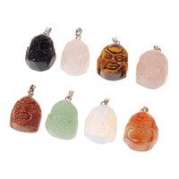 Tibetan Buddhism Mixed Bead Cortina Genuine Natural Rose Quartz Gris Ágata Tiger Eye Sand Piedra Scrub Colgantes Transhipped Buda Head Charm
