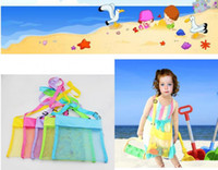 Wholesale Seashell Bags - 5color Wholesale Blanks Children Mesh Shell Beach seashell Bag Kids Beach Toys Receive Bag Mesh Sandboxes Away