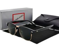 bolsa de lente para óculos venda por atacado-Marca Designer Óculos De Sol De Alta Qualidade Metal Dobradiça Óculos De Sol Dos Homens Óculos de Sol Das Mulheres óculos UV400 lente Unisex com casos e caixa