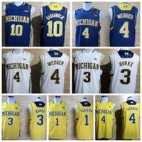 Wholesale Flashing Big - 2017 College Michigan Wolverines Jerseys Big 10 Patch 1 Glenn Robinson III 3 Trey Burke Shirt Uniform 4 Chirs Webber 10 Tim Hardaway Jr.