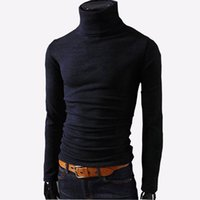 Wholesale Wholesale Mens Sweaters - Wholesale- 2016 New Autumn Mens Sweaters Casual Male turtleneck Man's Black Solid Knitwear Slim Fit Brand Clothing Sweater