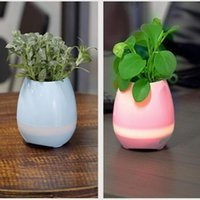 Wholesale Music Green Plant Smart Bluetooth Speaker Music Flower Pots Home Office Decoration Green Plant Music Vase Touch Induction Creative DHL