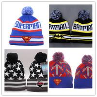 ingrosso cappelli invernali di batman-Cappello a maniche corte per uomo con pompon in cotone, per uomo, con cappellino lavorato a maglia