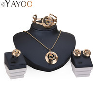Wholesale Dress Jewellery Earrings - AYAYOO Jewelry Sets For Women Wedding Dress Zinc Alloy Pendant Necklace Earrings Rings Bracelet Jewellery Accessories Holiday