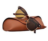 sonnenbrille halbe katze groihandel-Hohe Qualität Marke Designer Sonnenbrille Halbmetallrahmen Für Männer Frauen Mode Cat Eye sonnenbrille UV400 schützen Mit Orginal Paket Box