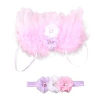 Wholesale Feather Butterfly Hair Accessories - 2PCS Set Baby Angel Feather Wings Wing Set Feather Butterfly Wings Costume Photo Prop Photography Girls Hair Accessories