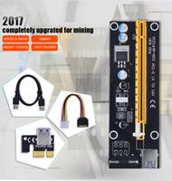 adaptador para elevador al por mayor-PCIE PCI-E PCI Express Tarjeta adaptadora vertical 1x a 16x Cable de datos USB 3.0 SATA a 4Pin Fuente de alimentación Molex IDE para BTC Miner Machine PC Desktop