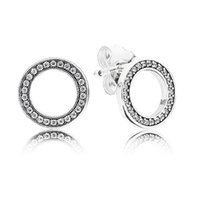 Cubic Zirconia sparkle earrings - Authentic Sterling Silver Earring Sparkling Circular Forever Crystal Stud Earrings Compatible With Pandora Jewelry HKAPD002