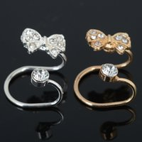 Wholesale Clip Bow Ties Wholesale - 20 Pcs Gold Silver Plated Ear Cuff Wrap Crystal Cartilage Clip Earring Bow Tie Ear Clips Body Jewelry For Women