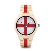 Wholesale Natural Bamboo Beads - Luxury Wristwatches Natural Bamboo Wooden Watches With Wooden Beads Brand Red Cross Luxury Wood Watches For Men SY-WD289