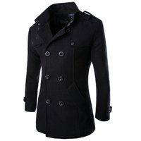 Wholesale Men Double Breasted Coat Sale - Wholesale- 2017 Hot Sale Mens Wool Coat Casual Slim Fit Fashion Double Breasted Solid Men's Winter Jacket M-3XL (Asian Size)