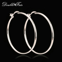 Wholesale Elegant Fashion Earrings - Elegant Big Hoop Earrings Silver Color Platinum Plated Copper Metal Fashion Vintage Punk Jewelry Anti-allergy For Women Wholesale DFE659