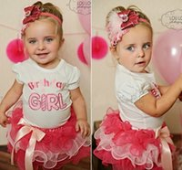 Wholesale Lace Skirt Cake For Girls - Wholesale- 2Pcs set Girls Baby Party Letter Print Short sleeve T-shirt + spell color lace cake skirt For 0~3Y Birthday Baby Girls Tutu set