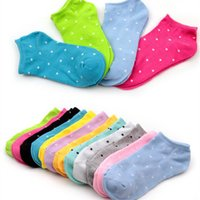 Wholesale Colored Socks For Women - Wholesale- 3 Pairs Ladies Candy-colored Socks Summer Women Girls Female Stealth Boat Shallow Mouth Sock Point For Women