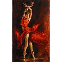 ingrosso olio spagnolo-Dipinti ad olio dipinti a mano Flamenco Spanish Dancer Red Lady moderna arte decorativa su tela per la decorazione della parete