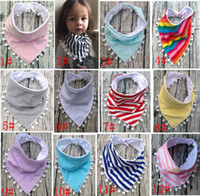 Wholesale Wholesale Cotton Ties For Boys - 13 Styles Baby Bibs 100%Cotton Tassel Bibs Infant Rainbow Striped Printing Towel Baberos For Newborn Baby Girls Boys