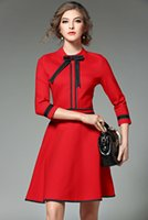 Wholesale Dress Girl S Winter - 2016 autumn and winter new women thin aristocratic temperament fashion red bottoming dresses Urban girl OL office ladies dresses607#