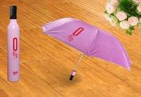 nuevo sol paraguas plegable lluvia al por mayor-La moda de Nueva portátil de la manera creativa de la botella de vino Tres plegable dom lluvia paraguas-regalo caliente libre de DHL venta 9 color