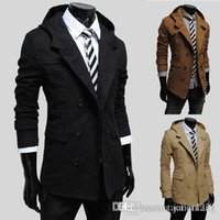 Wholesale Casual Pea Coats For Men - Suited Man Trench Coat Cotton Winter Mens Trench Hooded Casual Single Breasted Long Pea Overcoats For Men Solid Mult-color Trench J160754