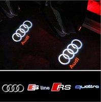 Wholesale Door Led Logo Audi - LED Car Door Logo Projection Light For AUDI A4 B6 B8 A1 A3 A6 C5 80 A7 Q3 Q5 Q7 TT RS4 RS5 RS6 S4 S5 S6 S7 RS Sline