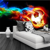 Wholesale Interior Design Wallpapers - Cool Color Flame Football 3D Photo Wall Mural Wallpaper Personalized Customization Living Room Bedroom Interior Design Wallpaper
