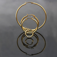 Wholesale Allergic Gold Plated Jewelry - 2017 New Fashion Trendy Classic Gold color Surgical Steel Round Hoop Earrings for Women Jewelry anti allergic