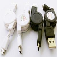 einziehbares handy usb großhandel-Einziehbare Micro-USB-Kabel Ladegerät Kabel Daten cabo schwarz weiß Handy-Zubehör für Samsung Galaxy S6 S5 S4 Blackberry Nokia x1