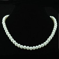 Wholesale Wholesale Pearls Strands - Chic Single Strand Faux Imitation Pearl 6mm Pearl Bib Statement Necklace Jewellery Gift Fashion Womens Short Chain Fine Jewelry For Women