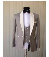 Wholesale Mens Grey Pinstripe Suit - One Button Light Grey Groom Tuxedos Shawl Collar Blazer Groomsmen Mens Colthing Wedding Suits (Jacket+Pants+Vest+ tie) J46