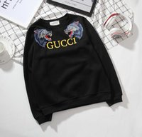Wholesale Korea Man Sweater - 2018 Europe and South Korea Harajuku couple loaded men and women models cool wolf head embroidery sweater round mens hoodies