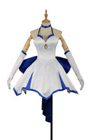 traje de cosplay cero al por mayor-Malidaike Anime Fate ZERO Fate / Stay Night Nero Saber Blue Lily Cosplay Disfraz Sexy Vestido Formal