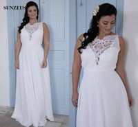Wholesale Wedding Gowns For Big Women - Plus Size Wedding Dresses For Big Women Simple Chiffon Beach Bridal Gowns With Lace Top Robes De Mariage